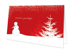 Snowy Day Red Christmas Cards