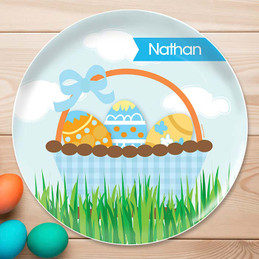 A Cute Blue Easter Basket Kids Plates