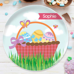 A Cute Pink Easter Basket Kids Plates