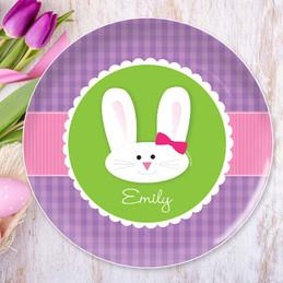 Smiley bunny purple kids plates