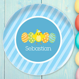 Easter chick Blue kids plates