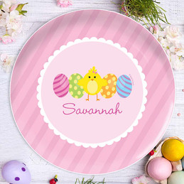 Easter Chick Pink Kids Plate