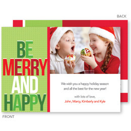Be Merry And Happy Christmas Photo Cards