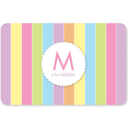 Pastels Initial Pink Kids Placemat