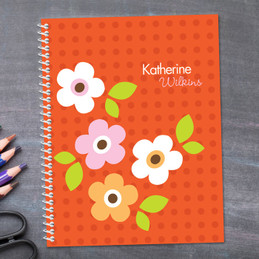 Orange Preppy Flowers Kids Notebook