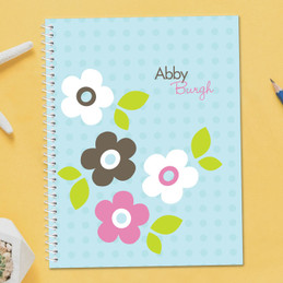 Blue Preppy Flowers Notebook