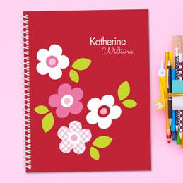 Red Preppy Flowers Kids Notebook