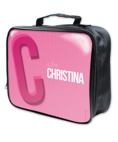 Double Initial Pink Soft Lunch Bag