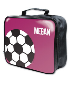 Girl Soccer Fan Purple Soft Lunch Bag