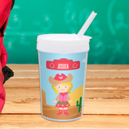 Cute Cowgirl Personalized Kids Cups