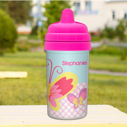 Smiley Butterfly Personalized Sippy Cup
