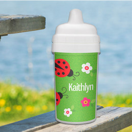 Curious lady bug personalized sippy cup baby