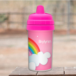 Dreamy rainbow personalized sippy cups