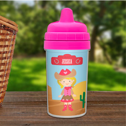 Blonde cowgirl personalized sippy cup baby