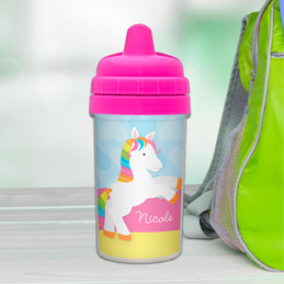 Cute rainbow pony toddler sippy cup