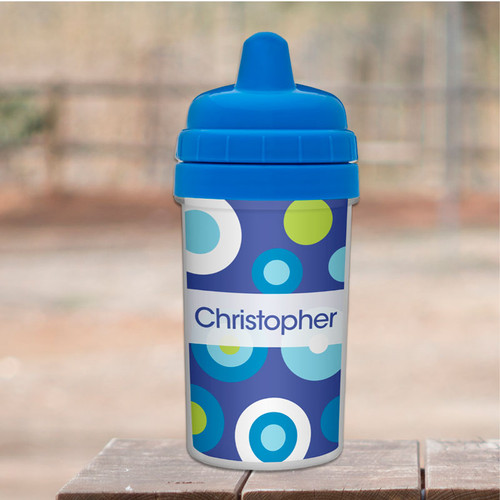 Blue Circles and Circles Sippy Cup