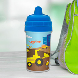 Fun Boys Sippy Cups with Construction Trucks