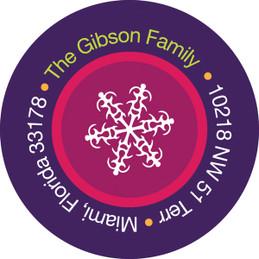 Ribbon Snowflakes Christmas Address Labels