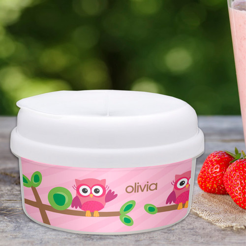 Owl Be Yours Girl Personalized Snack Bowls