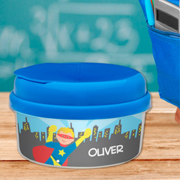 A Cool Blonde Superhero Personalized Snack Bowls