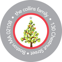 Dotted Xmas Tree Gray Christmas Address Labels