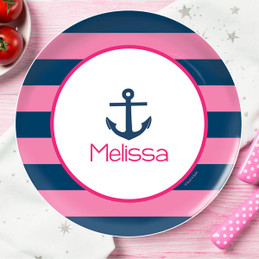 Pink Let's Sail Kids Plate