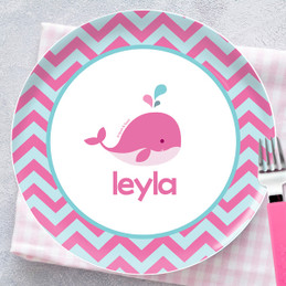 Sweet Pink Whale Personalized Melamine Plates