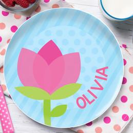 Cute Tulip Personalized Melamine Plates