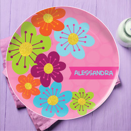 Shiny Bold Flowers Personalized Dishes