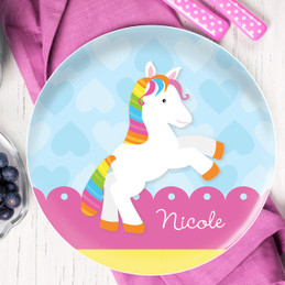 Cute Rainbow Pony Personalized Melamine Plates
