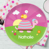 Turtle And Happy Bird Personalized Plates For Kids