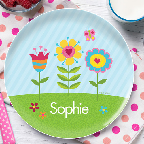 spring blooms personalized kids plates by spark spark