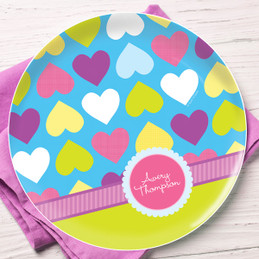 Happy Hearts Personalized Plates For Kids