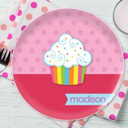 Rainbow Cupcake Personalized Melamine Plates