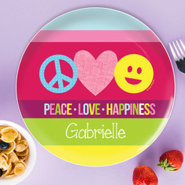 Peace u0026 Love Signs Kids Plates  sc 1 st  Spark u0026 Spark & Cute Personalized Kids Plates For Toddlers by Spark u0026 Spark