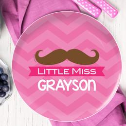 Little Miss Mustache Personalized Melamine Plates