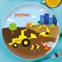 Construction Site Personalized Kids Plates