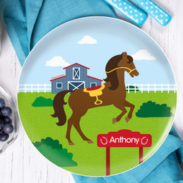 Cute Race Horse Personalized Melamine Plates