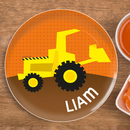 Fun Tractor Personalized Plates For Kids