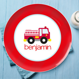Cute Little Firetruck Kids Plate