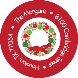 Whimsical Wreath Christmas Address Labels