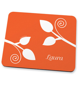 Orange leaves and swirls Mouse Pad