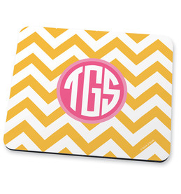 Yellow chevron & initials Mouse Pad
