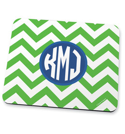 Green chevron & initials Mouse Pad