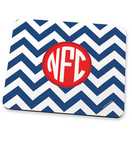 Blue chevron & initials Mouse Pad