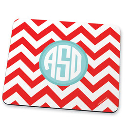 Red chevron & initials Mouse Pad