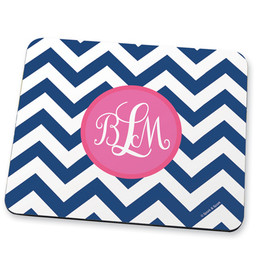 Classic blue pink chevron Mouse Pad