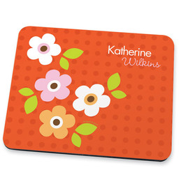 Preppy Flowers Orange Mouse Pad