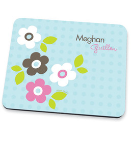 Blue Preppy Flowers Mouse Pad