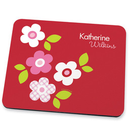 Preppy Flowers Red Mouse Pad